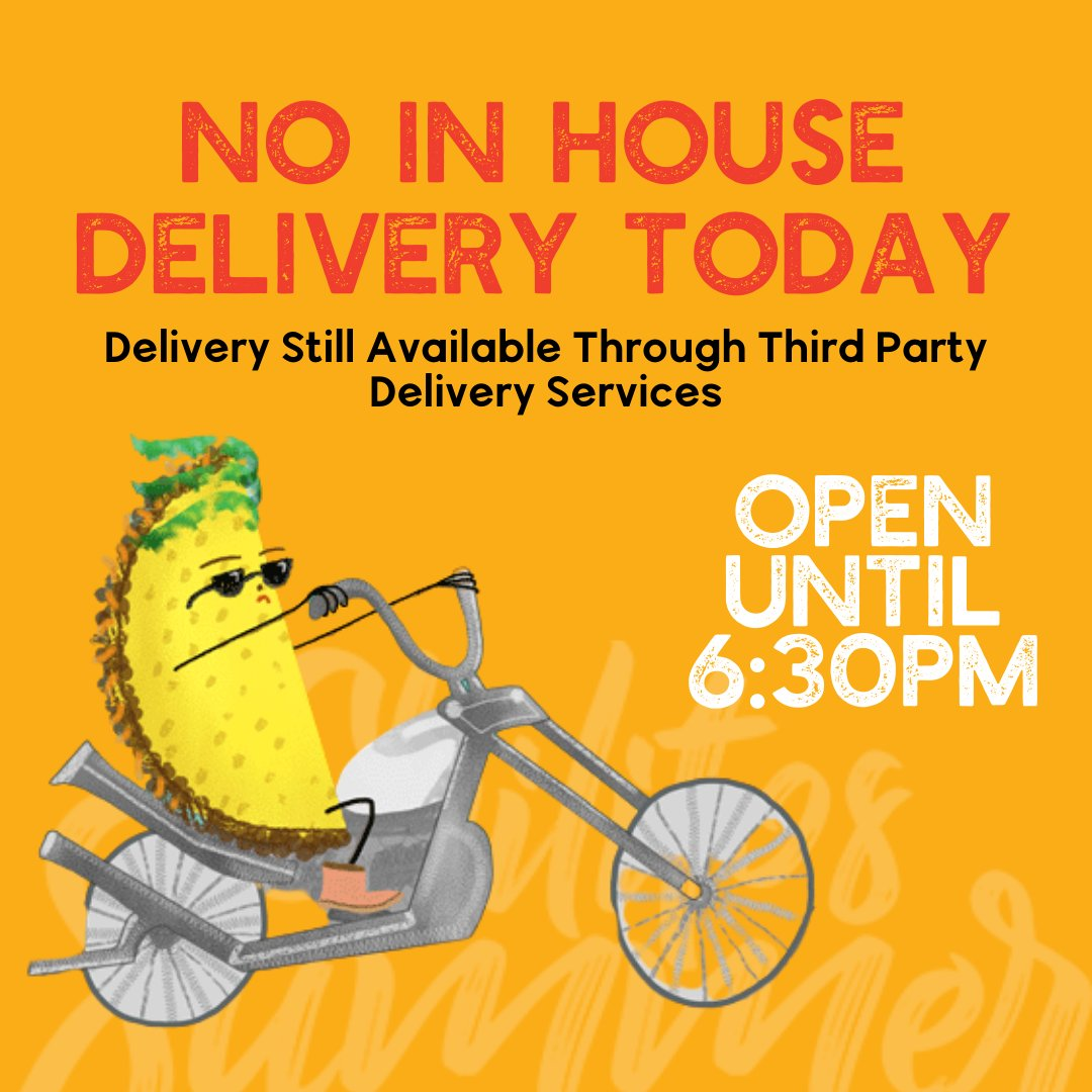 Just a heads up! No in house delivery today, but you can still get your Chilitos fix through third party services like @7Krave, @myquickplatejamaica and @cutdiline.  Open from 10AM to 6:30PM for dining and take out as usual! #ChilitosJaMexican https://t.co/5BMhQmcnxq