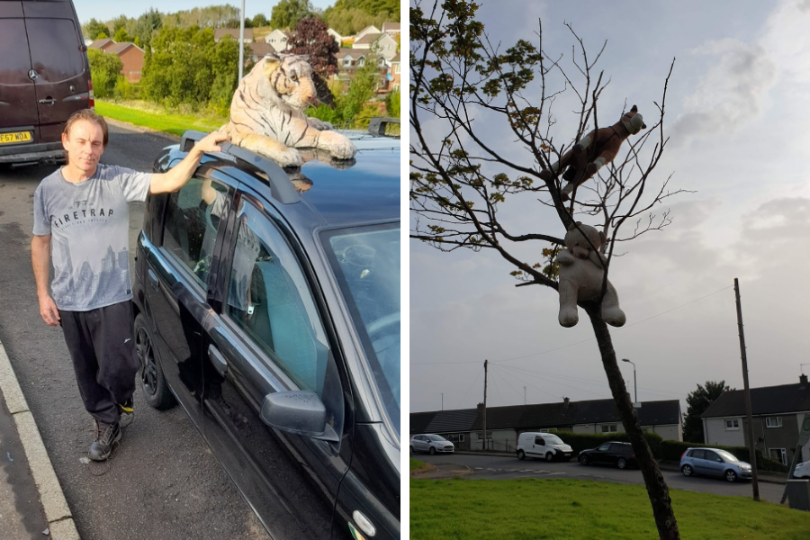 A Cardross man who tied cuddly toys to vehicles and trees to cheer up passers-by has told how he had to see the funny side when one of the stuffed animals was targeted by vandals, resulting in a police visit to take pictures of the victim. Full story: helensburghadvertiser.co.uk/news/18746032.…