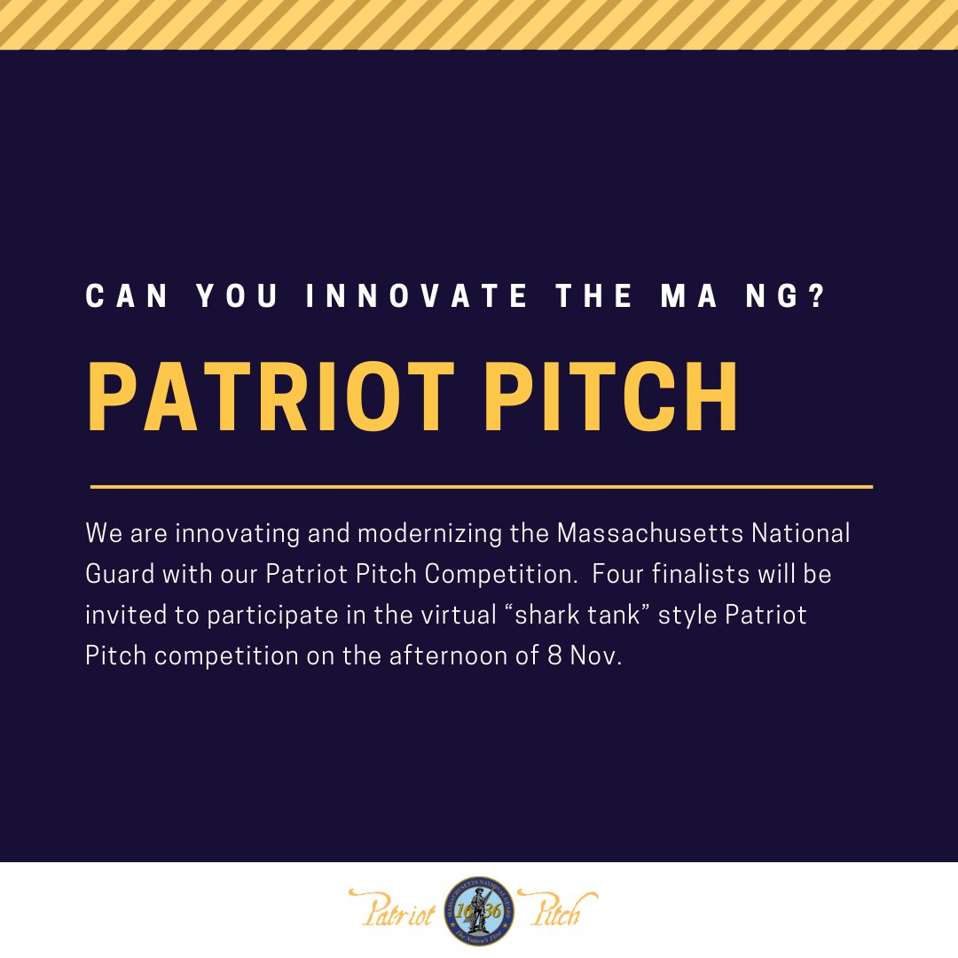 """We are calling on talent from the MANG to help innovate and modernize our organization with our Patriot Pitch Innovation Challenge.  Submit ideas for a chance to be one of four finalists invited to our Nov. 8th """"shark tank"""" style competition.  Details: https://t.co/eDQYPYo0pU https://t.co/Lcd2mrAYVe"""