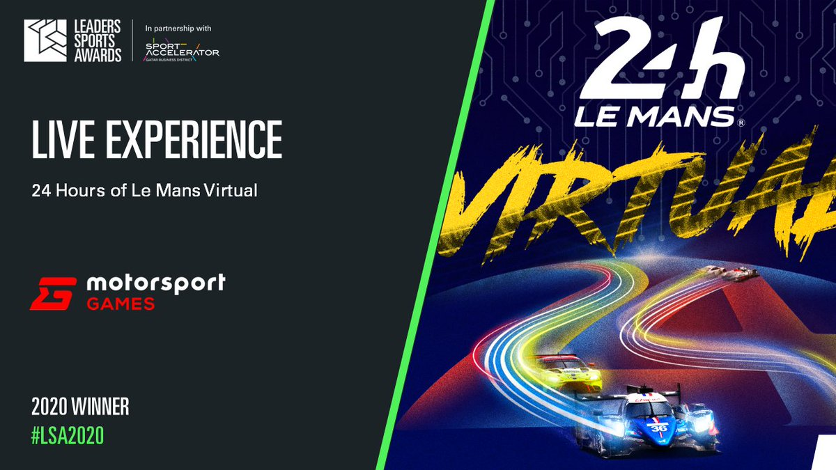 🏆The inaugural 24 Hours of Le Mans Virtual has won a prestigious @LeadersBiz Sports Award for Live Experience.  👏 @FIAWEC @MSportgames   Read more : https://t.co/ORTRpQqH9y  #LeMans24Virtual https://t.co/F0oUev6tEL