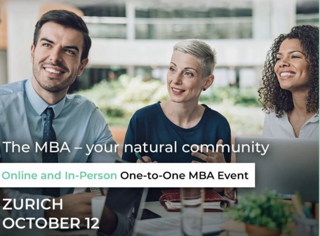 Looking for an #MBA course? The #Access #MBAevent will take place in #Zurich on 12th October & you can also join the #online version on 14th October. Registration is free for both events - see here: https://t.co/KfU0W5s1dS #Switzerland #education #furthereducation #zurichevents https://t.co/4AflcIQqHS
