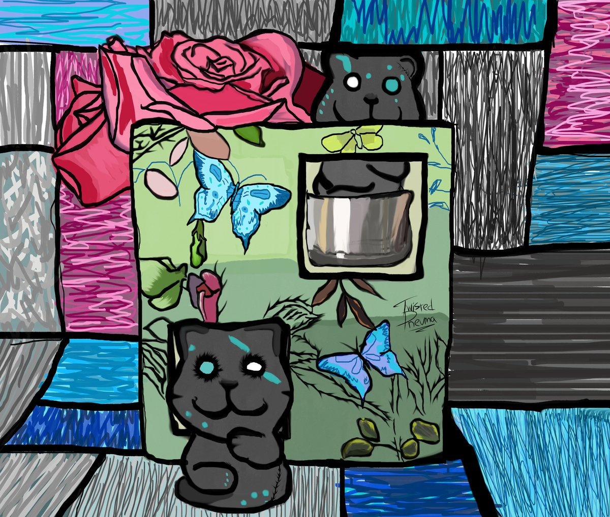 Not exactly finished this tbh, but my brain can't take no more right now haha  #Digitalart #Cats #Roses #Butterfly https://t.co/eT8W7KccgL