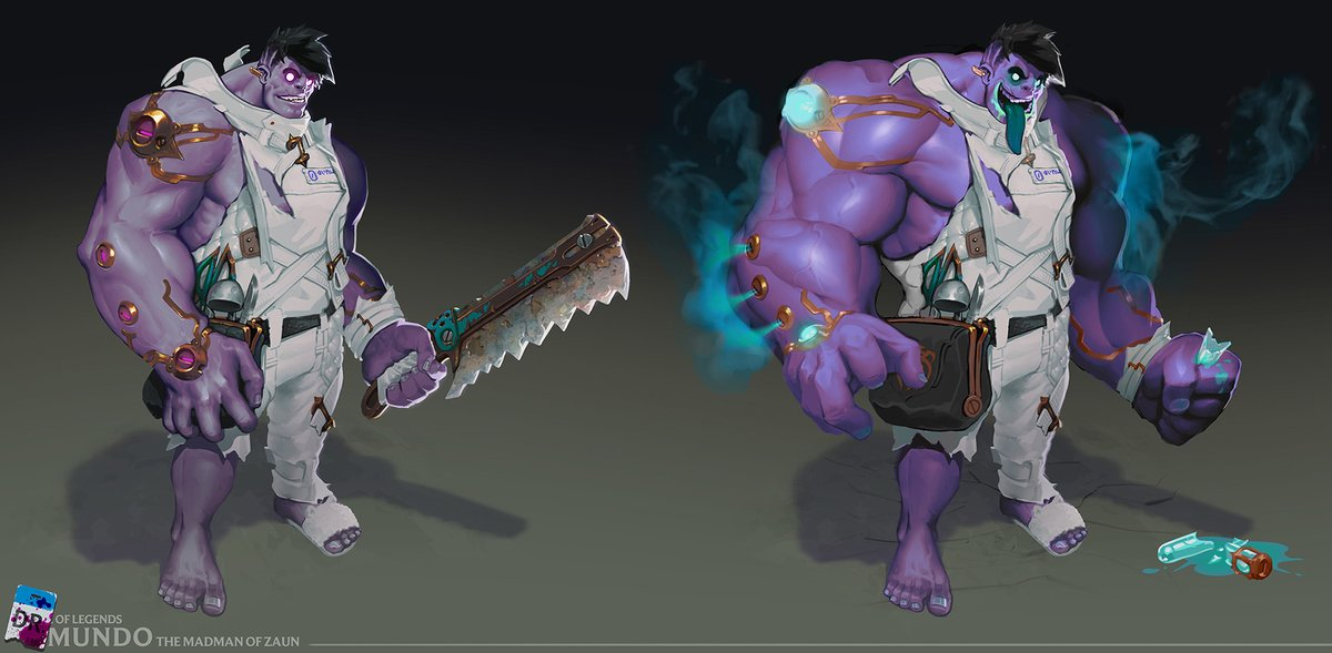 And speaking of Mundo's VGU, here's a tl;dr of what we're thinking:  💄 Upgrades to visuals/theme to fit modern League 🔪 Keep tanky regen + cleavers 👶 Keep him simple 😛 Keep him handsome https://t.co/JwkXLqJDco