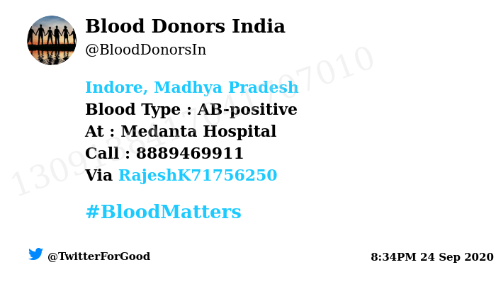 #Indore, Madhya Pradesh Need #Blood Type :  AB-positive At : Medanta Hospital Blood Component : Blood Number of Units : 3 Primary Number : 8889469911 Via: @RajeshK71756250 #BloodMatters Powered by Twitter https://t.co/BcHinrebKH