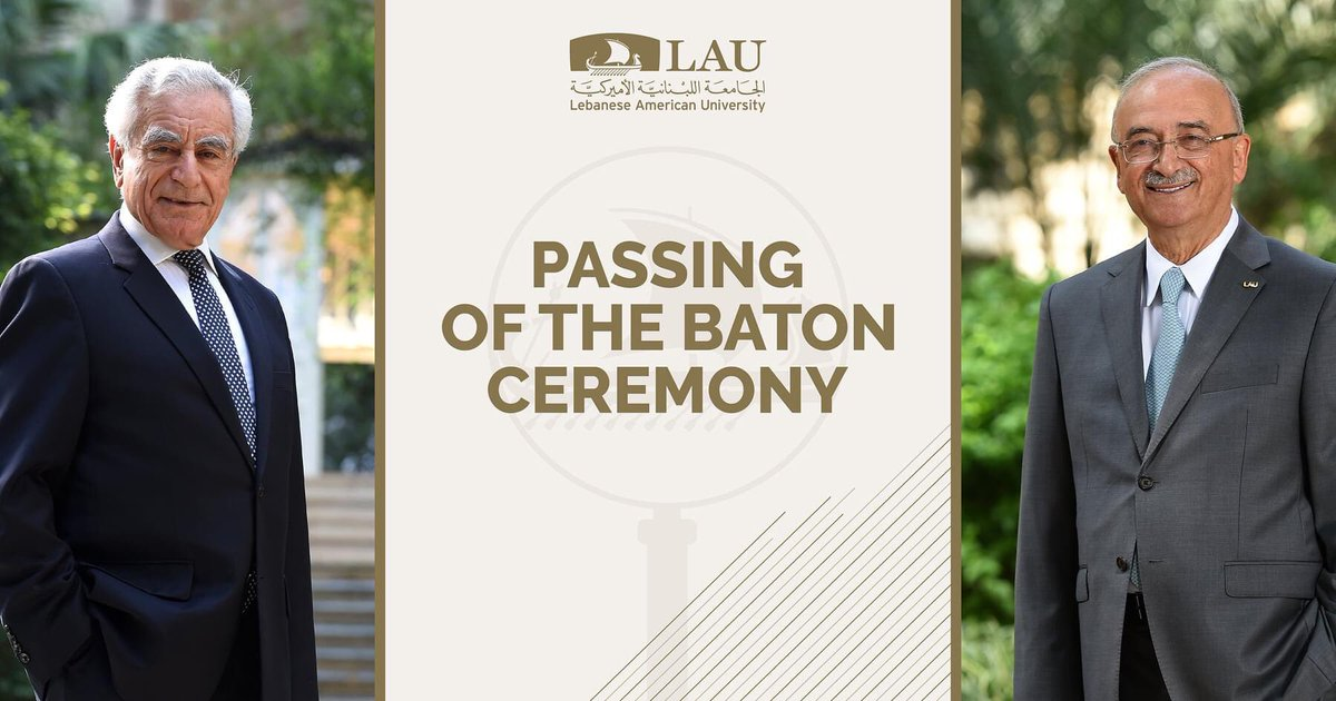 "LAU invites you to the live streaming of the ""Passing of the Baton"" ceremony, welcoming LAU's ninth president, Dr. Michel E. Mawad, to the presidency.  Our community will be able to follow the live broadcast on September 25 at 6:00 p.m on this page: https://t.co/96gr1HNT6S https://t.co/JyfKGgyM3F"
