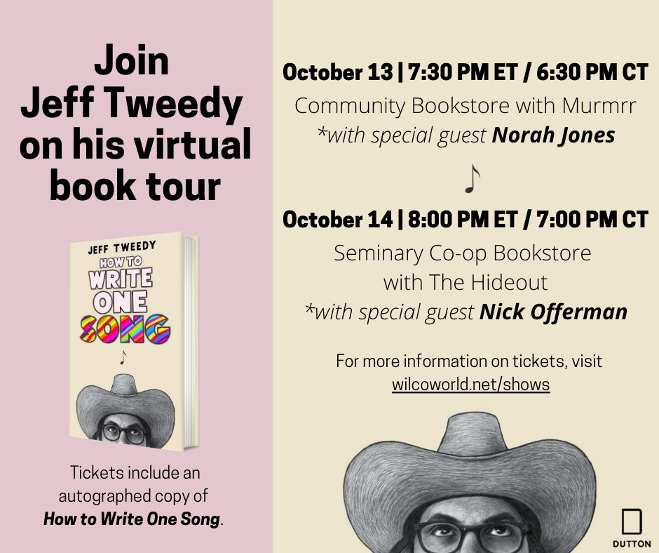 """Tickets to Jeff's virtual book tour for """"How To Write One Song"""" are available now! Join us for a couple of fun nights with @NorahJones and @Nick_Offerman.  - HQ   https://t.co/w6SaBxKhub https://t.co/YqduzebTAm"""