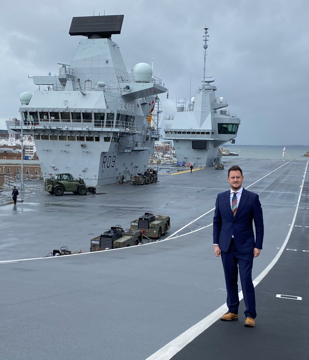The QE class carriers showcase our naval capability, great skill of our shipbuilders and are a source of great pride for #Portsmouth and our nation. A privilege to meet @HMSPWLS ship's company for a tour with @CommonsPAC today. Proud the carriers are based in our constituency https://t.co/ls89sfG0IE