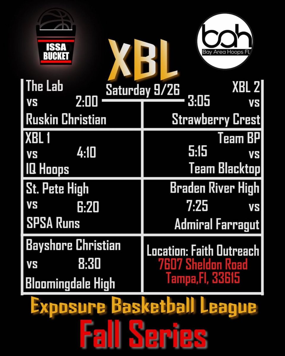 This Saturday @BayAreaHoopsfl  & @IssaBucketPro are LIVE‼️ Come check out the action in person or watch live on @BallerTV. A Lot Of Talent In The Gym‼️ #XBL https://t.co/dGlklM8vuo