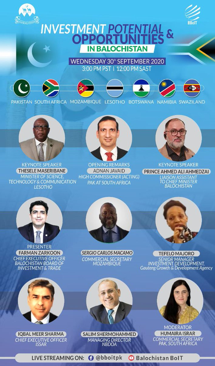 After a winning webinar with #UnitedStates, we are here with another efficient strategy, virtual discussion on Investment Potentials & Opportunities with Trade Commission of #Pakistan & #SouthAfrica on 30th September 2020.   Stay tuned for links.  .@PakTIA_SA @jam_kamal https://t.co/020RAEBfw6
