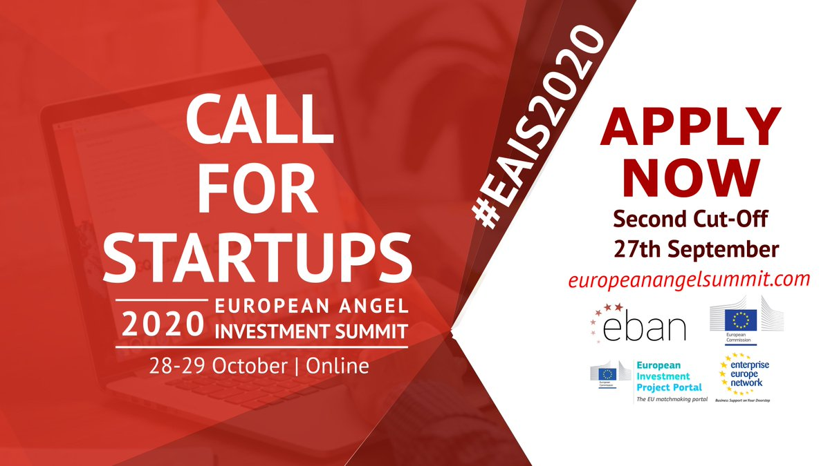 📆📩 Applications for the next #EAIS2020 European Angel Investment Summit on 28-29 October are still open!  #startups can apply now to get their pitching slot👉https://t.co/9TJNYvfVmE https://t.co/unGUgg9JRd