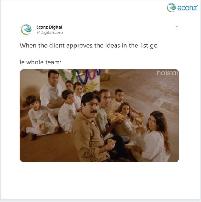 The bitter-sweet story of every agency.  #EconzDigital #PariWar #AgencyLife #ClientLife #pariwar #marketerslife #agencymemes #socialsamosa #trendingposts #trendingnow #trendingformats #marketingmemes #mememarketing https://t.co/zc4oKVA4qB