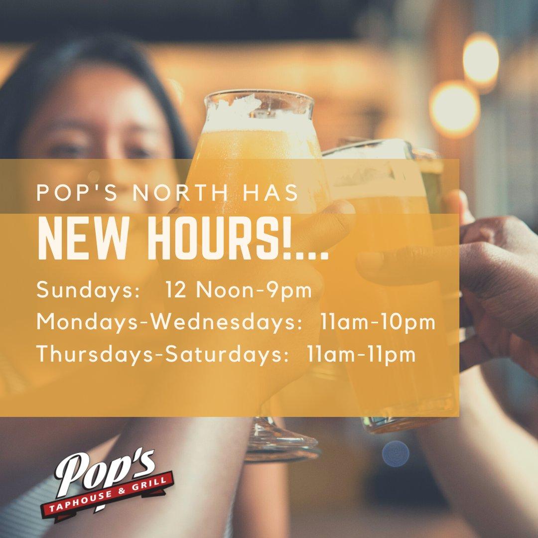 Pop's North has new hours! #yql #popstaphouse #wereopen #supportlocal https://t.co/QKzP7zeeGQ