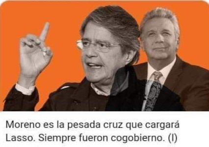 Lenin Moreno es la pesada CRUZ que cargará Guillermo Lasso, estos par #de ........... Siempre fueron cogobierno... https://t.co/tvsw9nbGEV