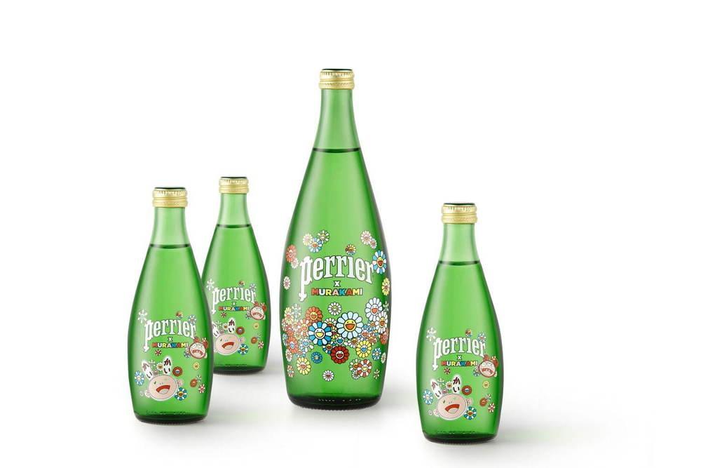 仏天然水「ペリエ」村上隆デザインボトルで登場、フラワーイラストを描いて - 数量限定デコボトルも -