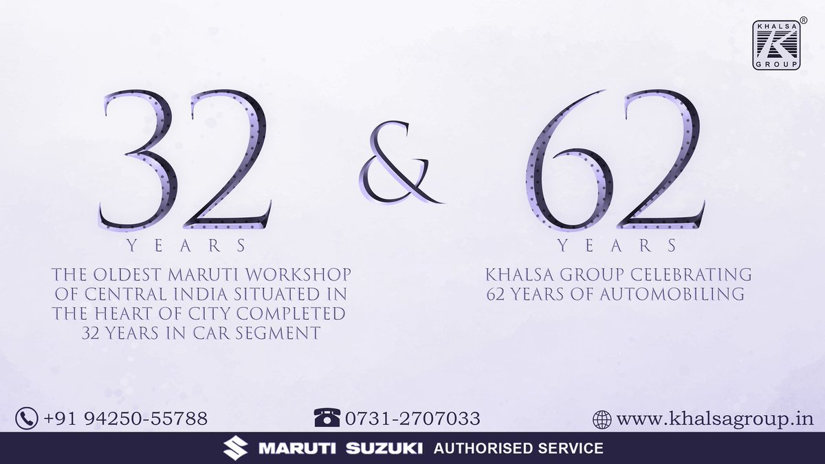 The OLDEST MARUTI WORKSHOP OF CENTRAL INDIA SITUATED IN THE HEART OF CITY COMPLETED 32 YEARS IN CAR SEGMENT & KHALSA GROUP CELEBRATING 62 YEARS  OF AUTOMOBILING.   #khalsagroup #Marutisuzuki #Indore #completecarcare https://t.co/vvyh8gRDCb