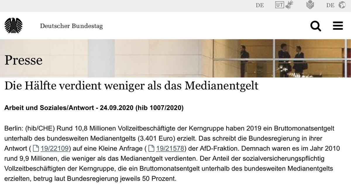 """Die #AfD hat wirklich die Bundesregierung gefragt, wieviel Prozent der Deutschen Arbeitnehmer weniger als das Medianentgeld erhalten.   50% - weniger als der Median sind immer 50%.  Deren Parteivorsitzender ist """"Wirtschaftswissenschaftler"""" und weiß nichtmal, was ein Median ist. https://t.co/aNGSD8zxIO"""
