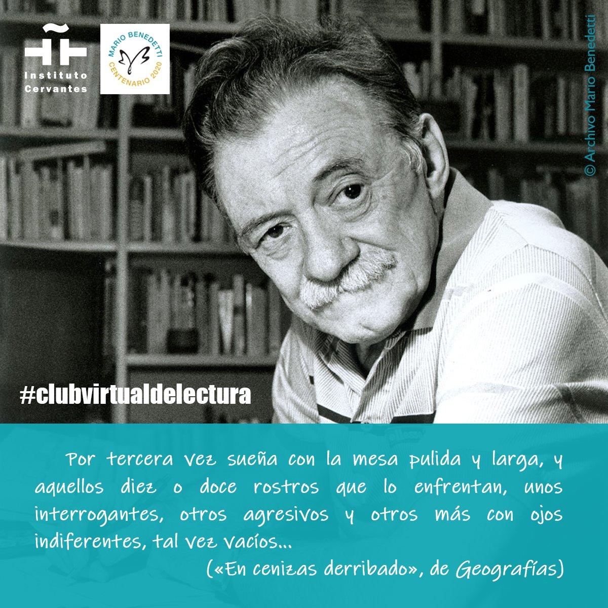 🔵Hoy tratamos el cuento «En cenizas derribado» de Mario Benedetti en el #clubvirtualdelectura del  @InstCervantes, con el escritor @pradobenjamin. Modera y dinamiza: @morenomulas📚📲 ➡️🔗https://t.co/XrUfrPQn9N  Más información: https://t.co/ss9Ws0Fh7B   #CentenarioBenedetti https://t.co/HTrQyHitvF