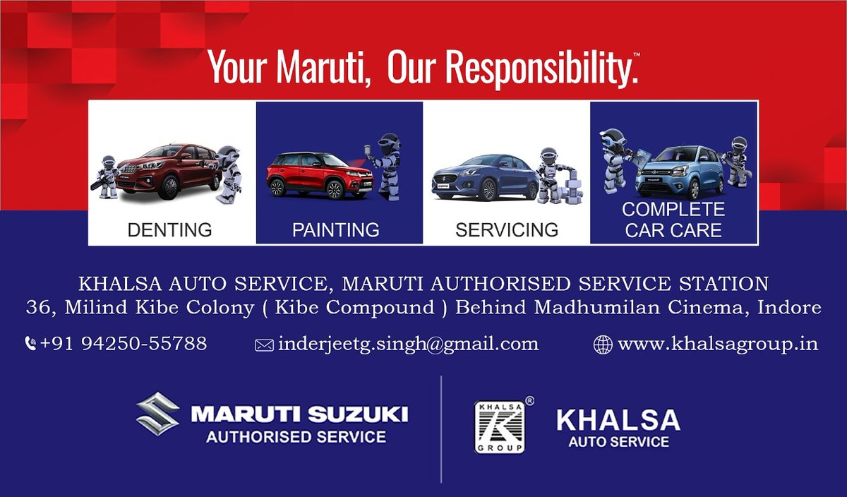 Your Maruti, Our Responsibility  Maruti Suzuki Authorised service KHALSA GROUP  #khalsagroup #Maruti #marutisuzuki #Indore #completecarcare https://t.co/n4gJkm0jD5