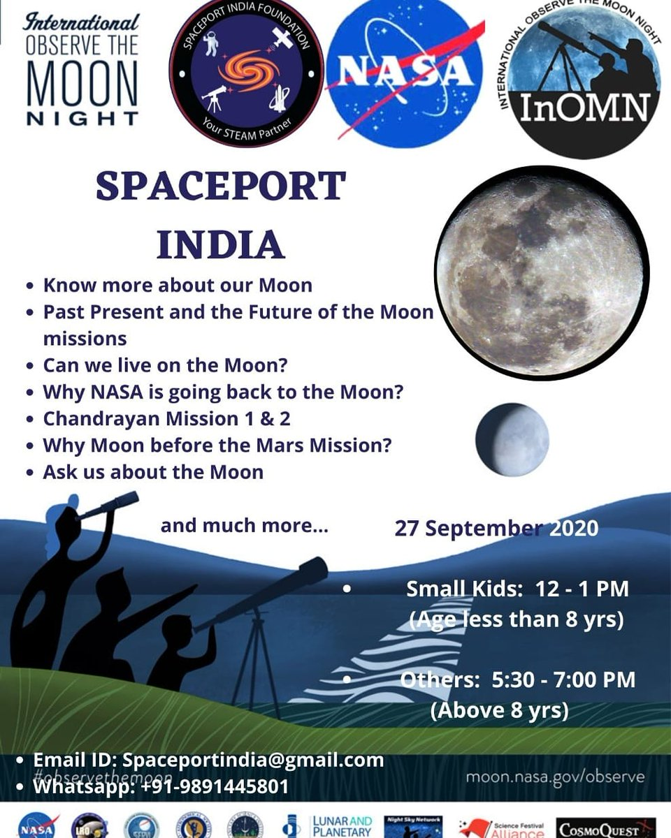 Send us your nomination and questions related to the Moon via email.  #spaceportindia #nasa #internaltionalobservethemoon #ObserveTheMoon https://t.co/9T81mHYXXE