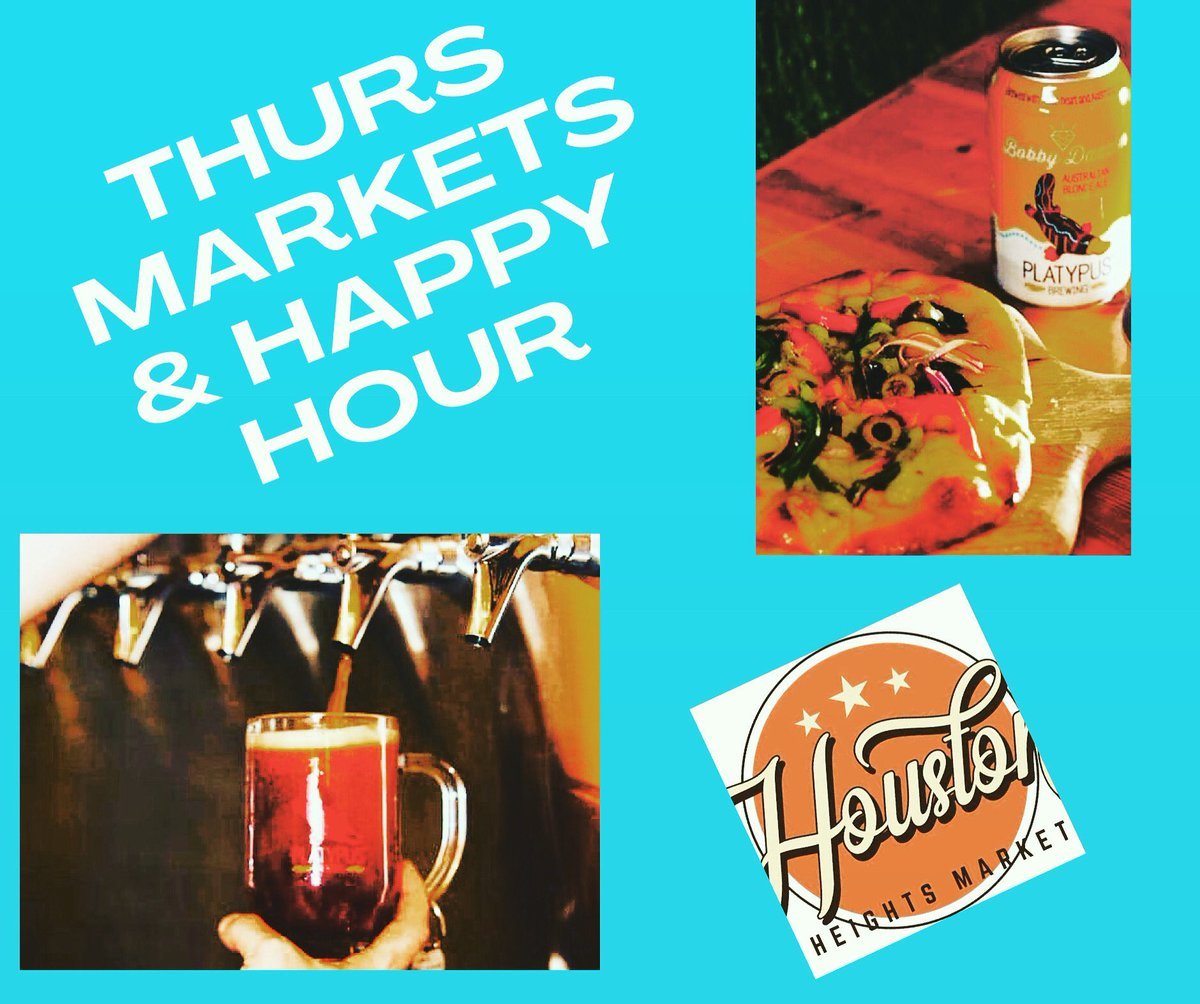Open from noon for lunch and Houston Heights Market + #HappyHour from 4-8. Shop local vendors in the parking lot, while enjoying fresh beer & pizza. Rest your legs after in the tap room and enjoy more food & HH beers (wine, cider too) and the #NFL! #Houston #houstoneats #htx https://t.co/htcCv2YKJE