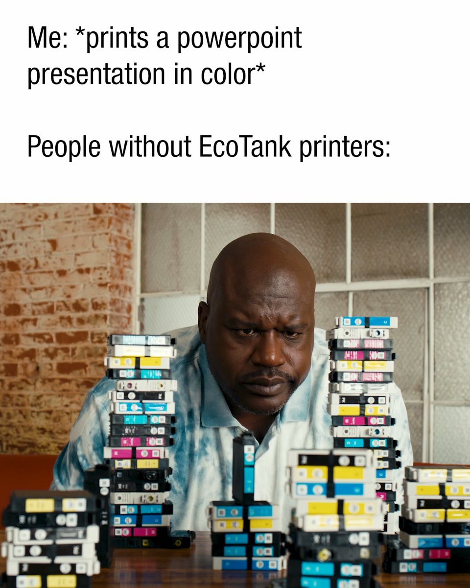 Print in color, all you want! 😄 #JustFillAndChill #EcoTank #Epson #Shaq #printer
