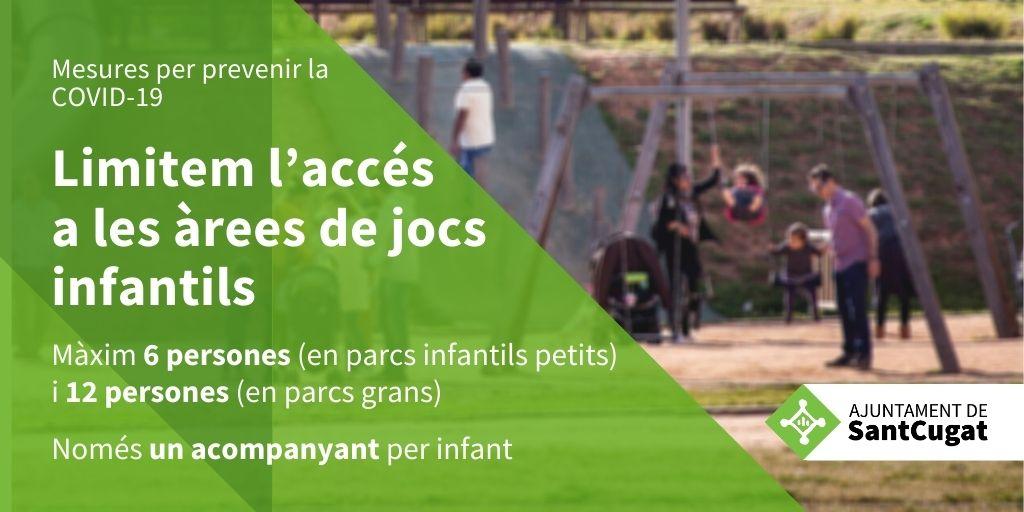 ATENCIÓ! A partir de demà divendres les àrees de jocs infantils de #SantCugat redueixen en un 50% el seu aforament per evitar el risc de contagi de COVID19