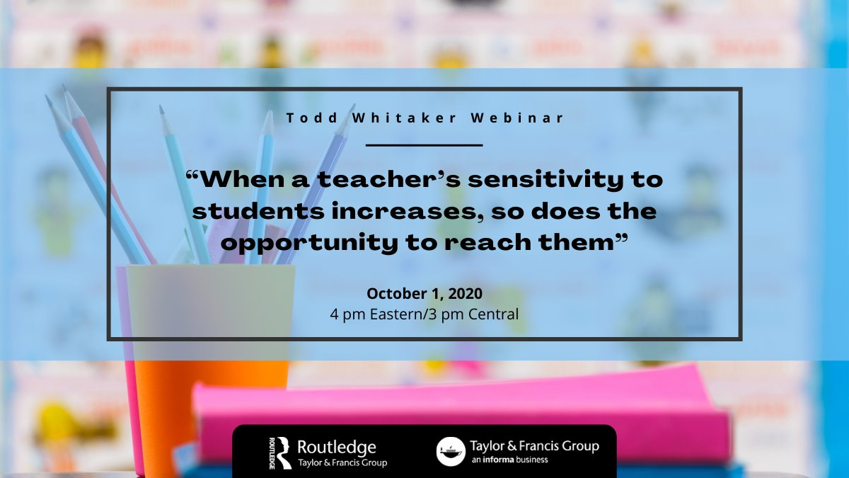 Perfect for #educators at any level of experience, this #webinar will leave you feeling inspired and ready to do the things that matter most for the people who matter most—your students. Register for the free webinar: https://t.co/xl3aysAU5k @ToddWhitaker https://t.co/xrcKf1Bgzj