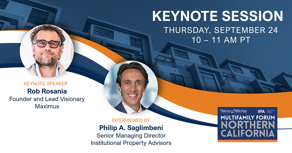 It's not too late to register for the Northern California Multifamily Forum! Get 50% off with promo code MMS. Go to https://t.co/JRoO1FZa3i . Join keynote speaker Rob Rosania, Founder and Lead Visionary of Maximus as he is interviewed by Philip A. Saglimbeni of IPA  #CRE #norcal https://t.co/uCQfVfKxaE