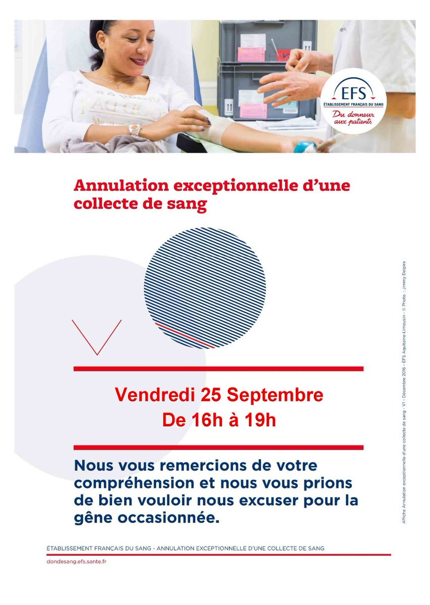 Le don du sang prévu demain à #BrassensCamus est annulé. Merci de votre compréhension 🙏 #DonDuSang #Collecte #Don #solidarite #Lormont #BordeauxMétropole #Gironde https://t.co/6DxAO9cl6y