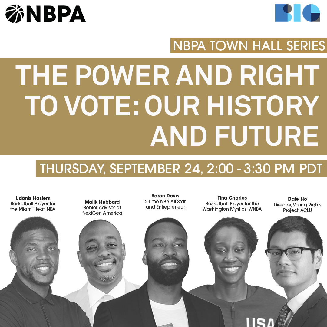 Today at 2pm PT we discuss the importance of voting to hold people accountable and stop oppression within our communities.  RSVP at https://t.co/m56DSb5MbH  #nbpa #aclu #voterrightsproject #voterresources #righttovote #votingpower #registertovote https://t.co/hoM3xZ3SZx