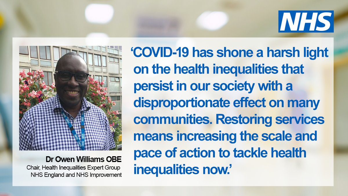 Read the eight steps we've identified to build on our #NHSLongTermPlan commitment to reduce health inequalities — including strengthened leadership and protecting the most vulnerable and disproportionately affected people in our communities from COVID-19. https://t.co/nndK75dHYB https://t.co/4nAwaS0KJr
