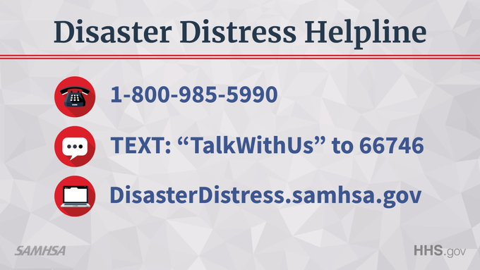 Severe weather can affect emotional health. The @distresslineis providing immediate crisis counseling and support to those experiencing emotional distress related to the natural disasters across 🇺🇸 ☎️ Call 1-800-985-5990 📱 Text TalkWithUs to 66746