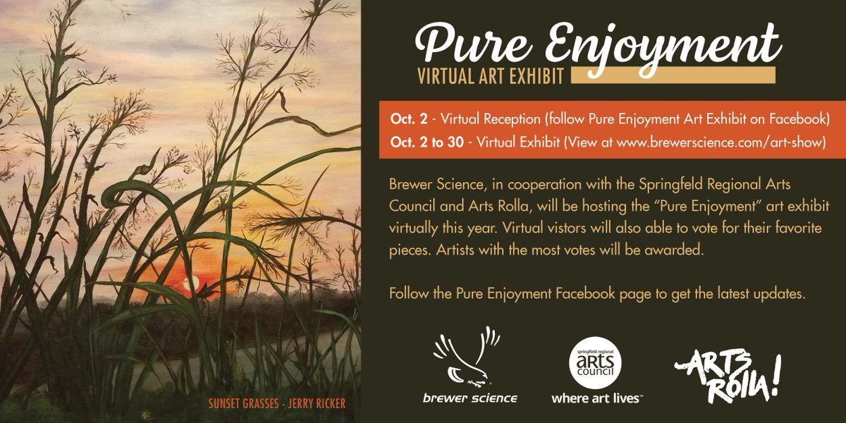 test Twitter Media - The Pure Enjoyment Art Show will begin next week, October 2. Please follow Pure Enjoyment Art Exhibit (https://t.co/KeqrFsNEYB) for more information. We're excited to be able to continue the tradition of this event with Arts Rolla and Springfield Regional Arts Council https://t.co/9uzQfZSH8q
