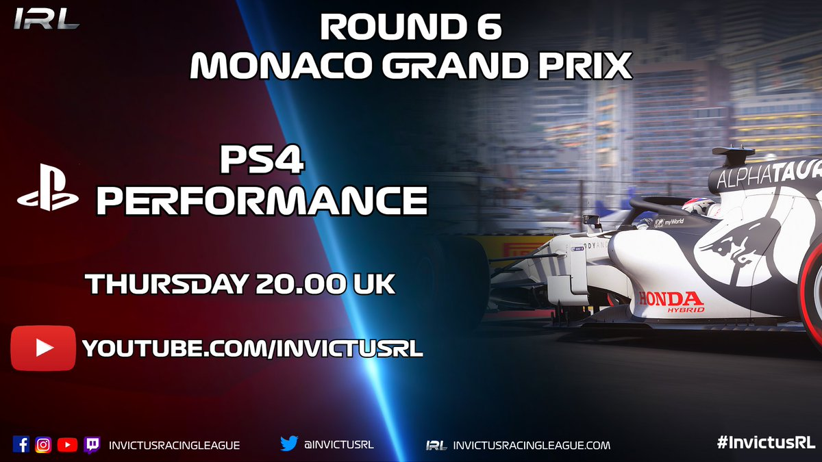 R6 of the Performance League is tonight and we once again have a reverse grid with an 20:00 UK start time LIVE on #YouTube  Details: 🏎 Round 6 🎮 PS4 Performance 📍 Monte Carlo, Monaco 🗓 24.09.20 🕘 20:00 UK 📽️ https://t.co/Wnvt4VRUC2 #️⃣ #MonacoGP #InvictusRL #F12020 https://t.co/ouTj44lOae