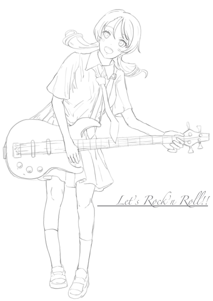けいおんっぽい感じでギターを構える北条加蓮を描いてみました。ギターの縮尺は間違ってるかもしれません。