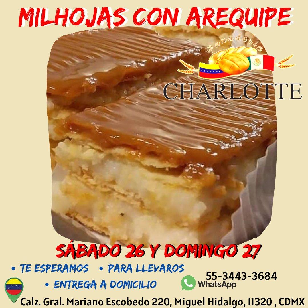 Te invitamos a disfrutar de la chicha venezolana 🇻🇪 y de la milhojas con arequipe a partir de las 9 de la mañana Sabado 26 y domingo 27. Te esperamos Panadería Charlotte #PanaderiaCharlotte #QuédateEnCasa #Envios  #Hastalapuertadetuhogar #PanMexicano #Venezolanosenmexico https://t.co/cwxgZ1r7hS