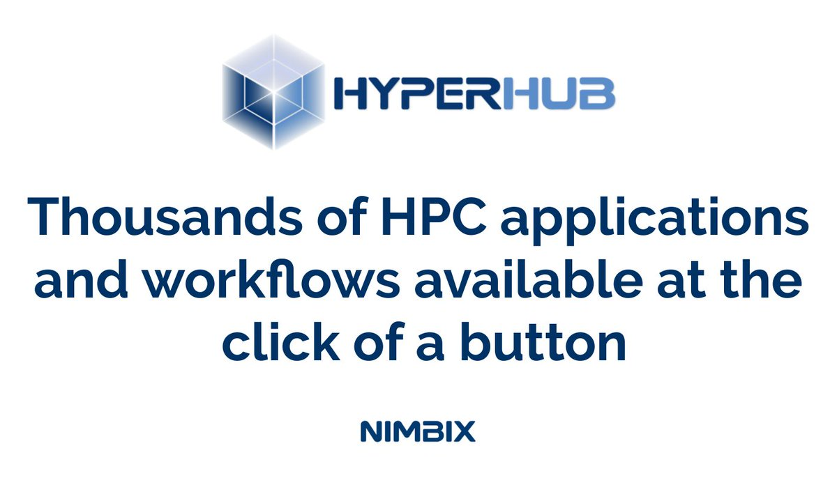 1000s of #HPC #applications and #workflows are available in the #HyperHub #Application Marketplace for use on the Nimbix, Inc. #Cloud or in your own #datacenter. From #AI to #bioinformatics to #simulation #apps, we have you covered. https://t.co/mhUmzzq5LV https://t.co/4sJyesXWyR