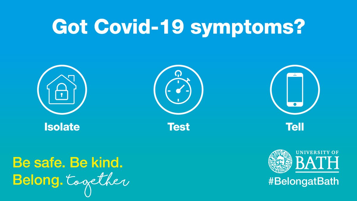 Be safe on campus and in Bath during the COVID-19 pandemic. Staff or students with COVID symptoms must follow the Isolate, Test, Tell process.  Find out more ⤵️   https://t.co/dhL89X2wnP https://t.co/CQyHXqrr8w