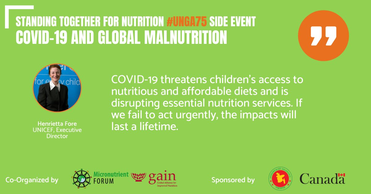 By standing together for nutrition, we can reimagine our future and achieve our shared goal to end malnutrition, once and for all.   @GAINalliance @MNForum #UNGA75 https://t.co/k1emhWo2jP