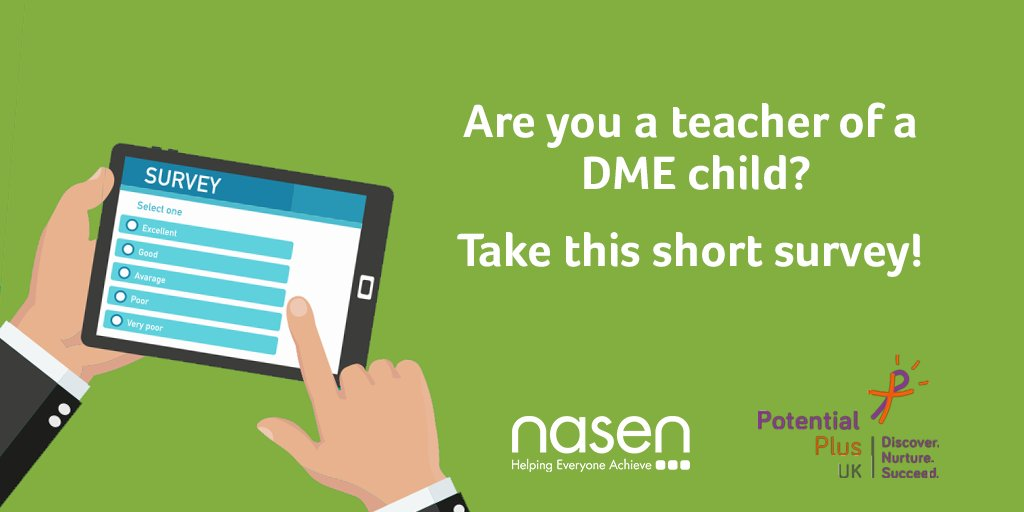 Are you a #teacher of a #DME child? We are working with  @PPUK_ to collect info on experiences of teachers for #DME children. We would be grateful if you could complete this short questionnaire, it should only take 5-10 mins. https://t.co/0IZ5ZWm9Wc https://t.co/o6wTu3e9oc