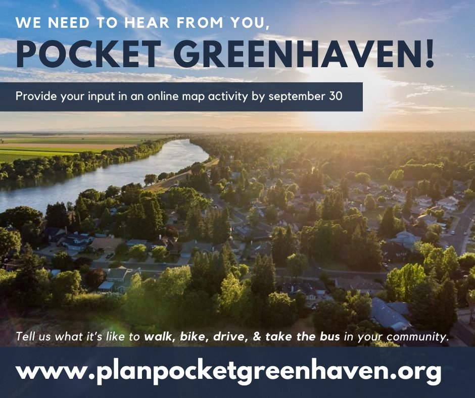 Pocket Greenhaven residents, we want to hear from you on how to improve transportation in your neighborhood! Visit https://t.co/dRUN8WyaYI by September 30 to provide input on an interactive map as we craft the Pocket Greenhaven Transportation Plan. https://t.co/fcqj2rVgoE