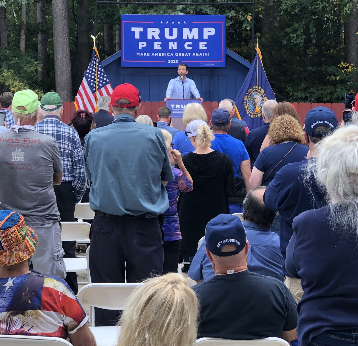 Joe Biden couldn't get a crowd of 10 people in a densely populated area.  @DonaldJTrumpJr on the other hand...Thursday afternoon in the North Country and a PACKED barn!  The Granite State is buzzing! 🔥🔥 #LeadRight #FITN #nhpolitics https://t.co/X9OM5UJLK0