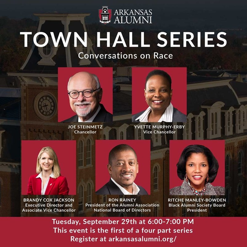 The Arkansas Alumni Association is pivoting its focus this year and creating new and innovative programs to better connect and serve #UARK alumni. The Alumni Town Hall Series: Conversations on Race will begin on Tuesday, Sept. 29 at 6 p.m.   ➡️ https://t.co/DMtNxL790M https://t.co/ZVS6Vbb7Bc