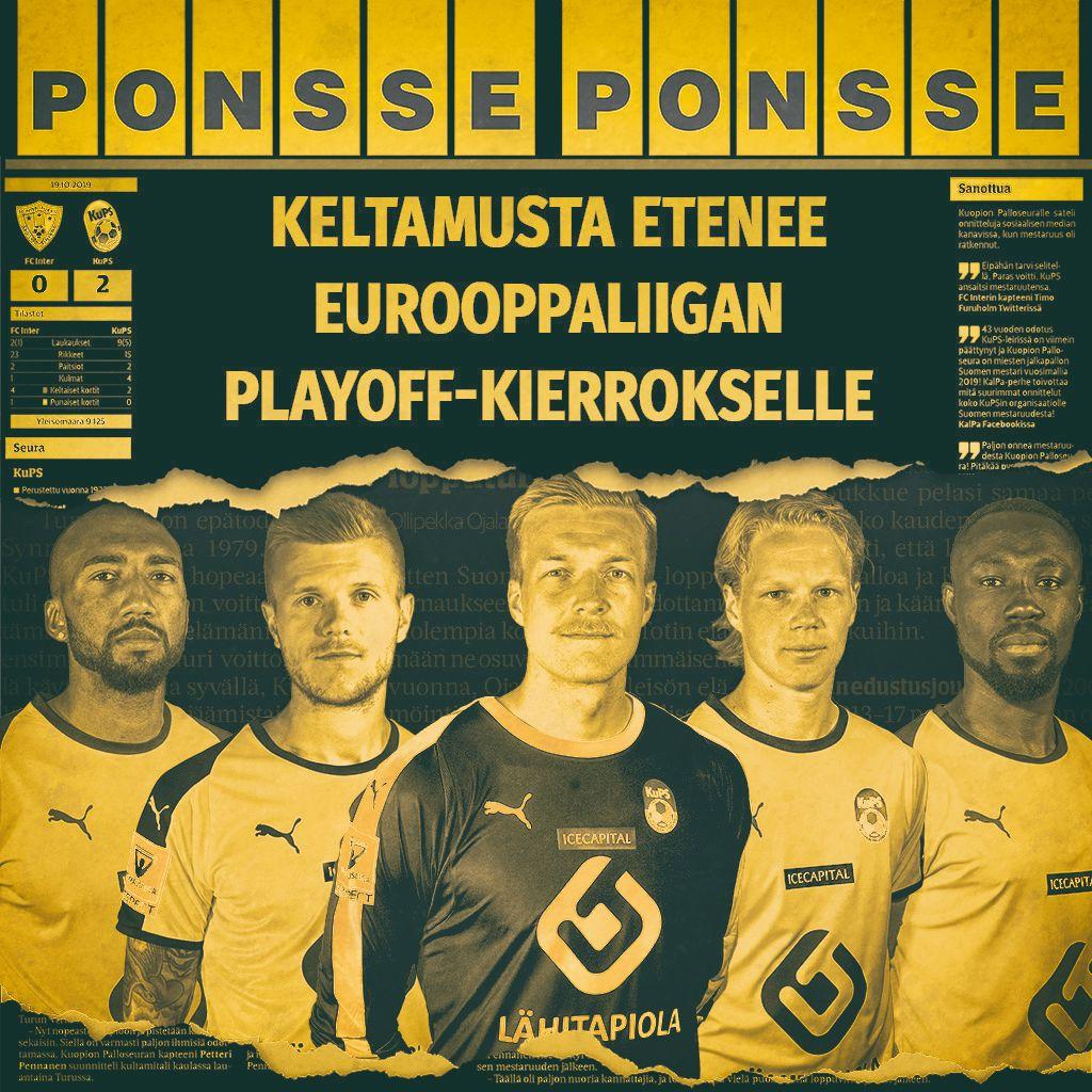 MEILTÄHÄN TÄMÄ KÄY!!!!  Suduva on lyöty ja Kuopion Palloseura on enää voiton päässä Eurooppaliigan lohkovaiheesta!  #KuPS #ponsse #UELfi https://t.co/Sv3izgUq5Z