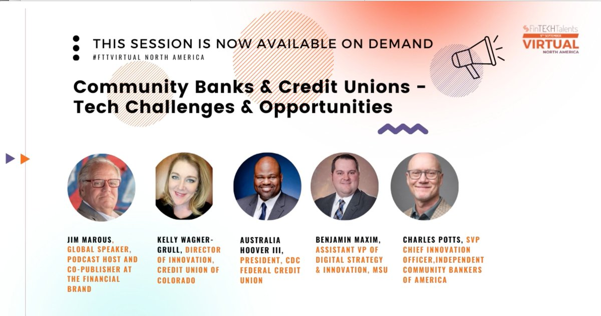 How Smaller Banks and Credit Unions Can Succeed in a Big Bank Digital World  My session at @FinTECHTalents for @VCInnovations   #banking #creditunions #DigitalTransformation #innovation @psb_dc @leimer @moyle_l @ICBA @ConsumerBankers @LizLum @provokemgmt @BAI_Info https://t.co/PThTZco5wC