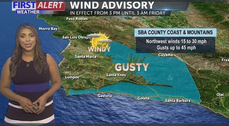 Strong winds are set to return Thursday afternoon across parts of southern #SantaBarbara County. Gusts up to 45 mph possible for areas west of Goleta. https://t.co/WVrQUgaW0b