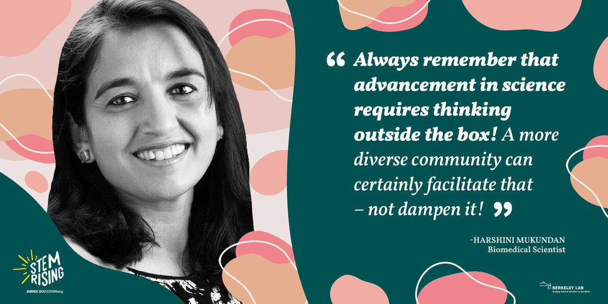 """""""Always remember that advancement in science requires thinking outside the box."""" -- Harshini Mukundan, Biomedical Scientist, @LosAlamosNatLab  See more of our #STEMRising Women @ Energy poster series at https://t.co/Dv99vlN7PE https://t.co/O3pBa3QCqd"""