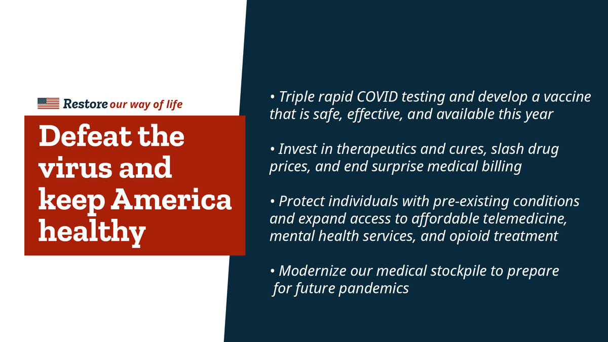 House Republicans made a #CommitmentToAmerica to defeat COVID-19, keep Americans healthy, and restore our way of life.  Read more about our plan at https://t.co/sU9qSAe3N4 https://t.co/ftru1Qko3K