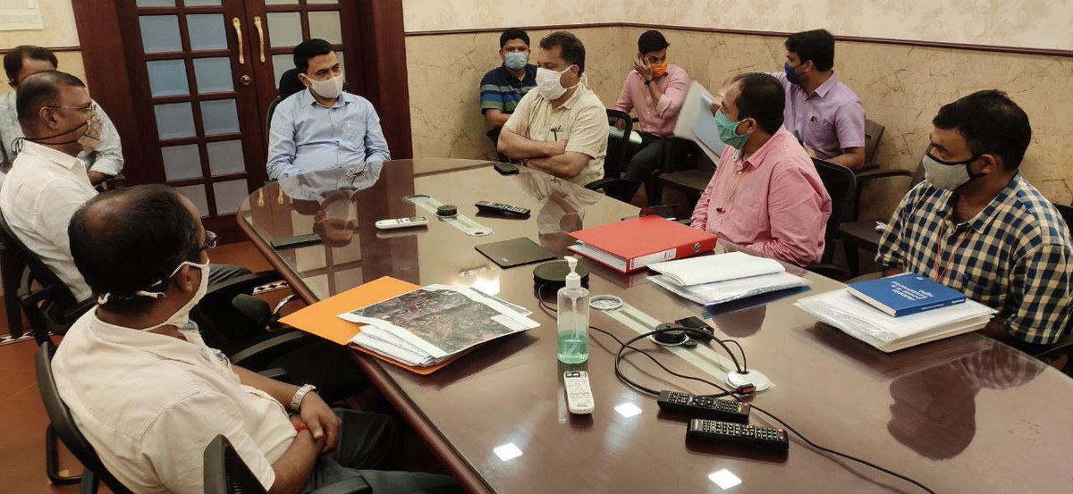 Chief Minister @DrPramodPSawant along with Power Minister Shri Nilesh Cabral and PWD Minister Shri Deepak Pauskar holds a meeting to review the Goa Tanmar Power Transmission Project. https://t.co/CXDXdm0d8h