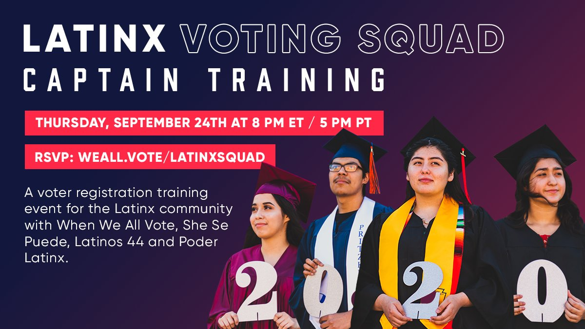 The 2020 elections mark the first time Latinos are the largest racial and ethnic minority group in our voting electorate.   Join the #LatinxVotingSquad training with #WhenWeAllVote TONIGHT to learn how to register voters in your community.   RSVP → https://t.co/iFPX5FCdUI https://t.co/Mk1b438oj8